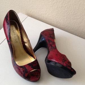 """Rampage """"Gracee"""" Red Faux Snakeskin Heels, Size 7"""